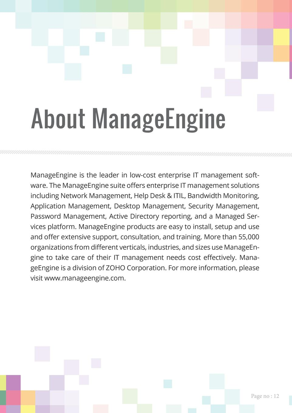 Management, Password Management, Active Directory reporting, and a Managed Services platform.