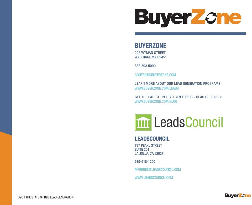 com/leads Get the latest on lead gen topics - read our blog: www.buyerzone.