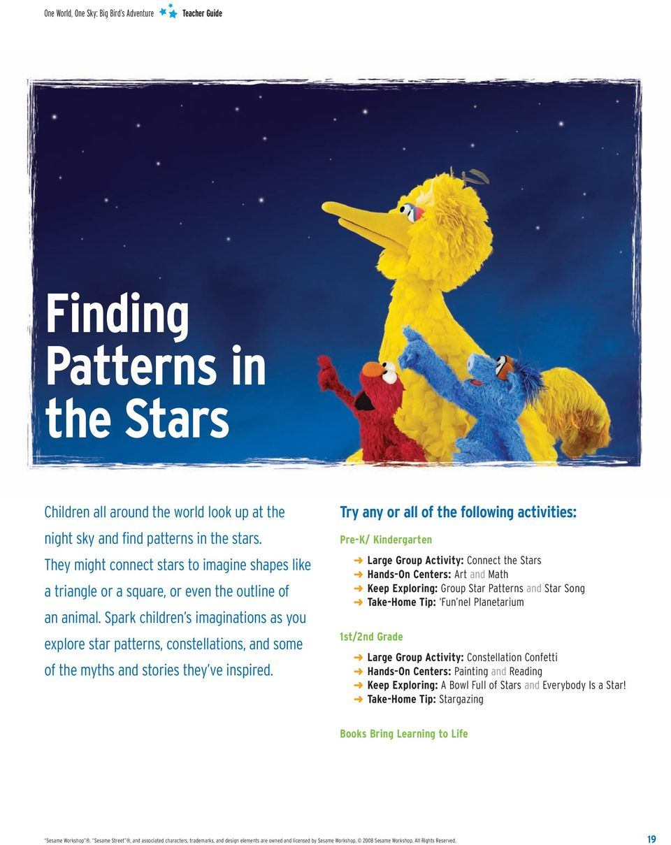 Spark children s imaginations as you explore star patterns, constellations, and some of the myths and stories they ve inspired.