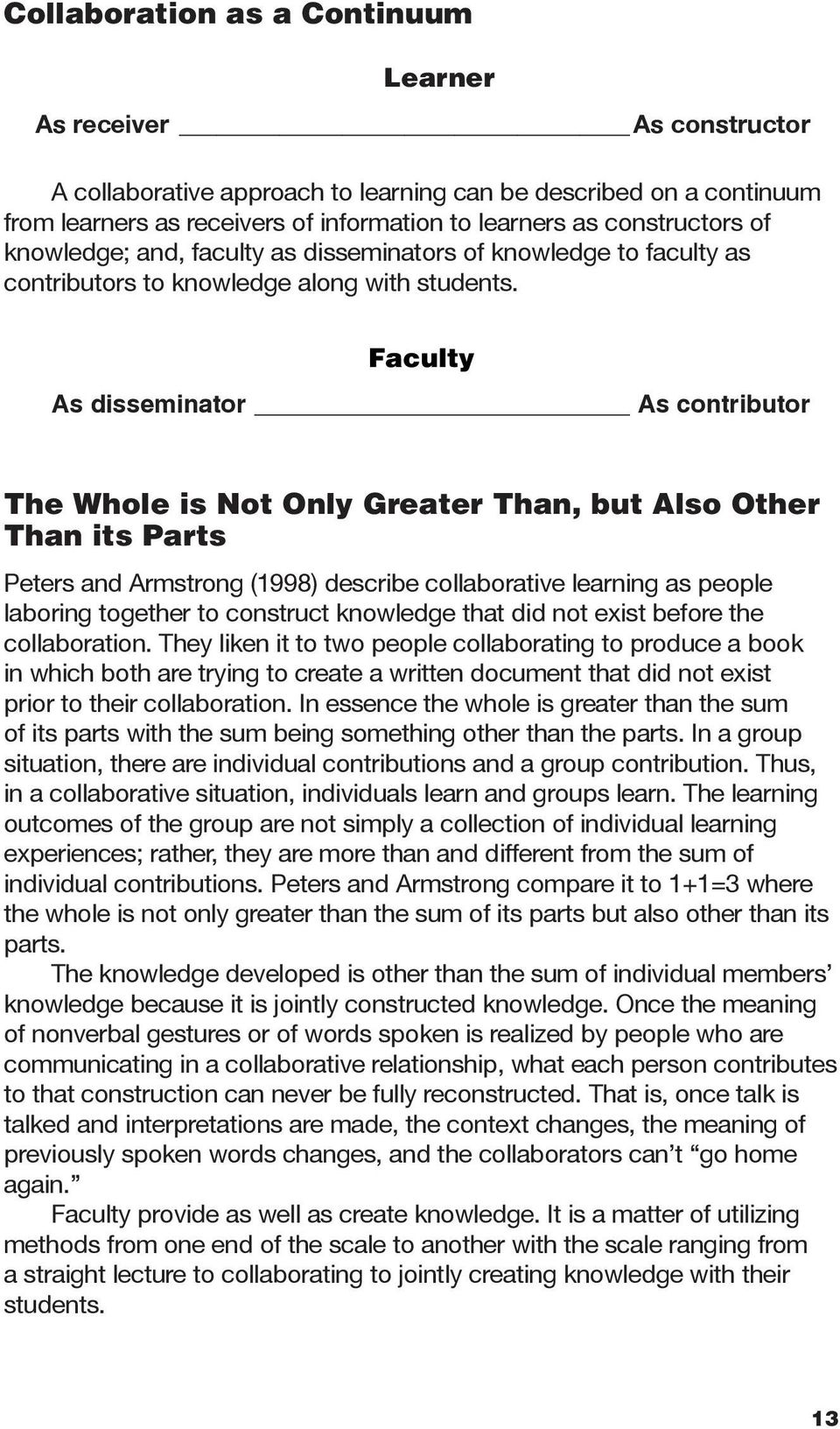 Faculty As disseminator As contributor The Whole is Not Only Greater Than, but Also Other Than its Parts Peters and Armstrong (1998) describe collaborative learning as people laboring together to