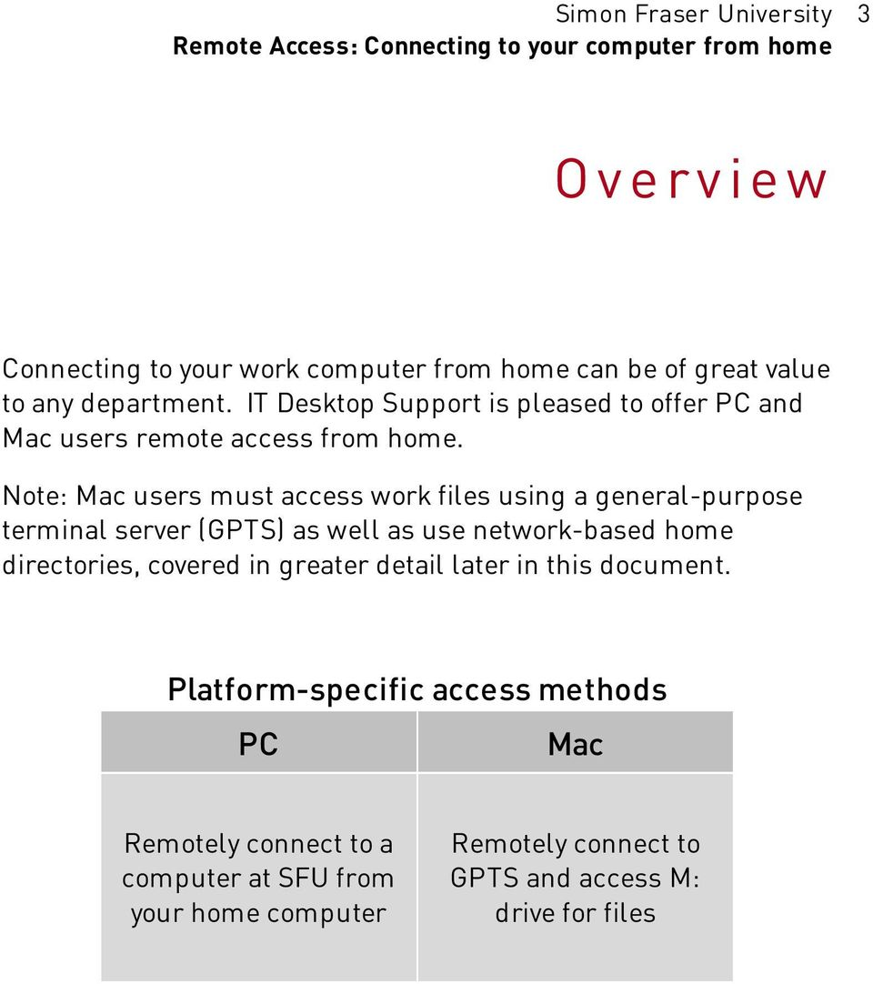 Note: Mac users must access work files using a general-purpose terminal server (GPTS) as well as use network-based home