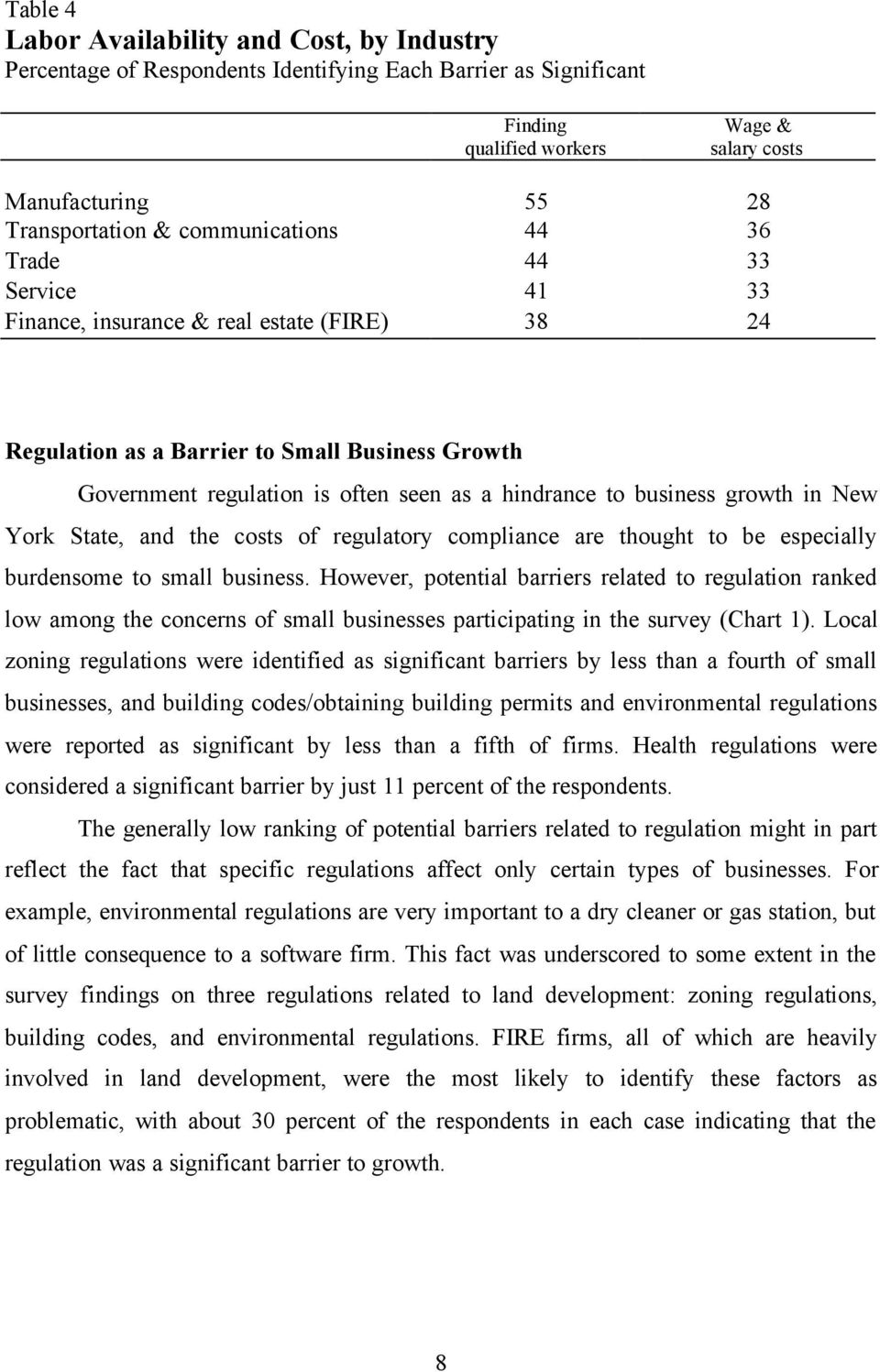 business growth in New York State, and the costs of regulatory compliance are thought to be especially burdensome to small business.