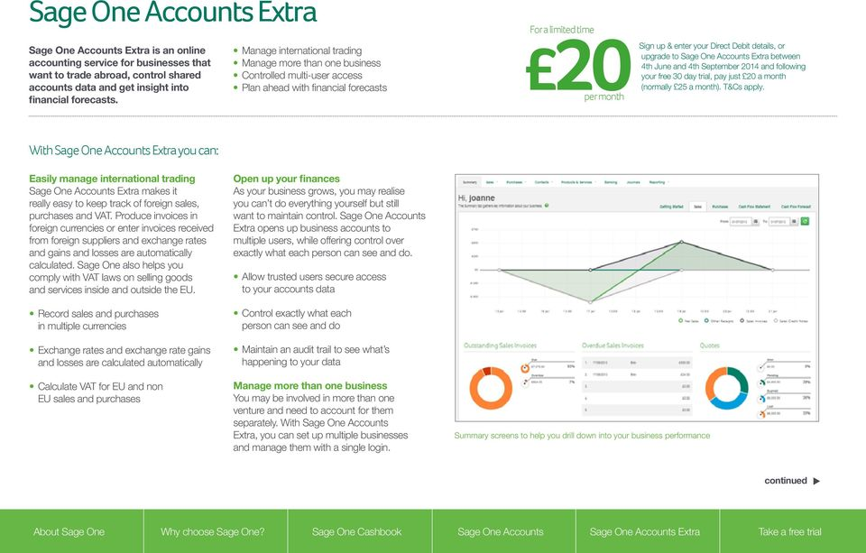 or upgrade to Sage One Accounts Extra between 4th June and 4th September 2014 and following your free 30 day trial, pay just 20 a month (normally 25 a month). T&Cs apply.