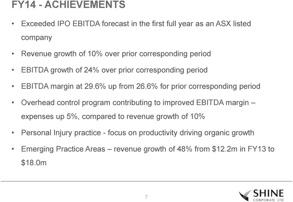 6% for prior corresponding period Overhead control program contributing to improved EBITDA margin expenses up 5%, compared to revenue