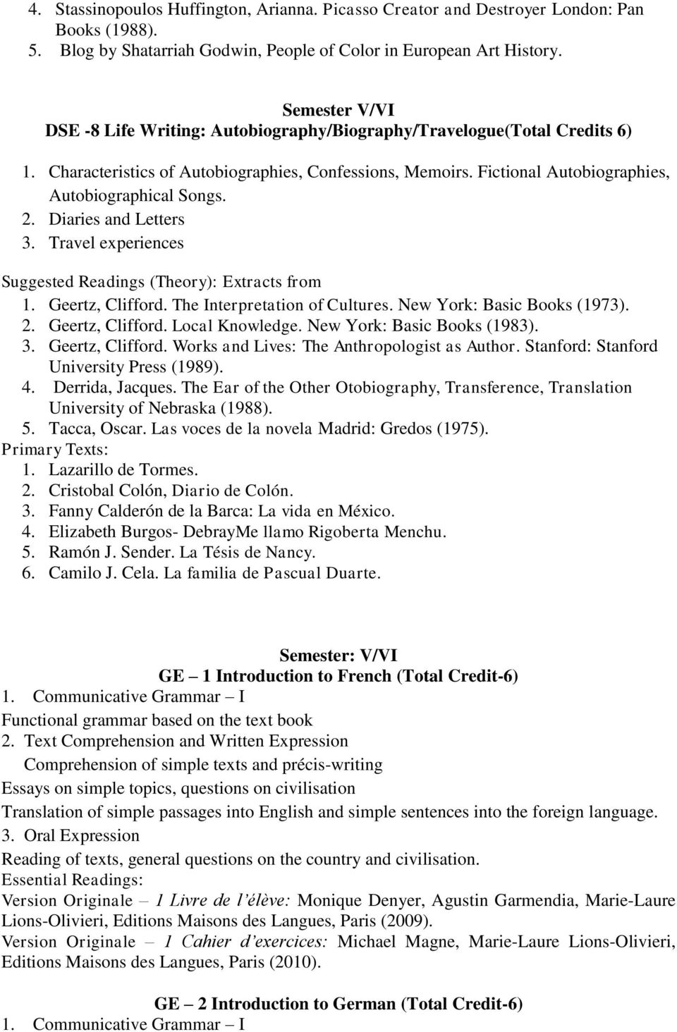 2. Diaries and Letters 3. Travel experiences Suggested Readings (Theory): Extracts from 1. Geertz, Clifford. The Interpretation of Cultures. New York: Basic Books (1973). 2. Geertz, Clifford. Local Knowledge.