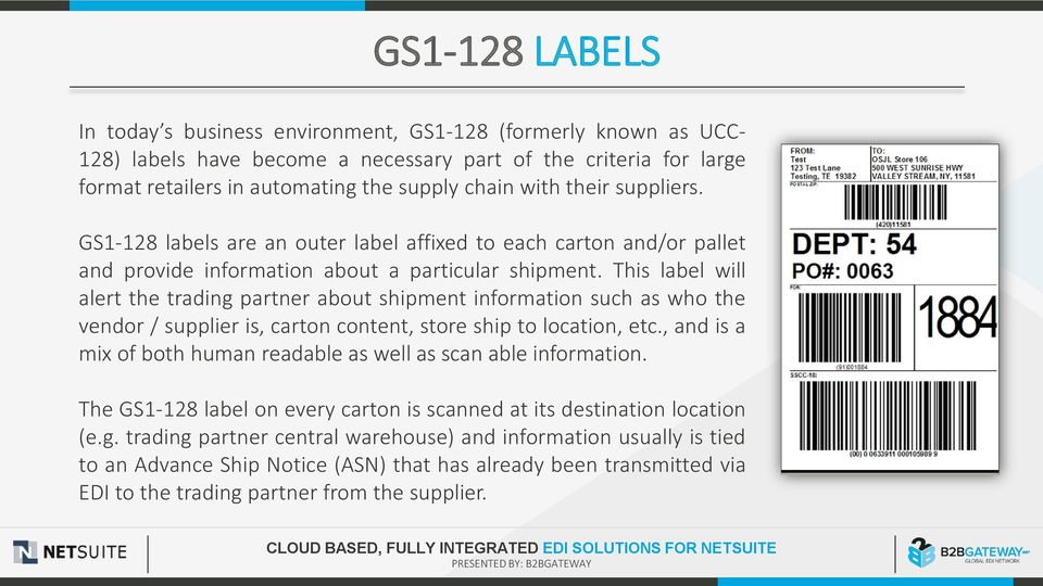information such as who the vendor / supplier is, carton content, store ship to location, etc, and is a mix of both human readable as well as scan able information The GS1-128 label on every carton