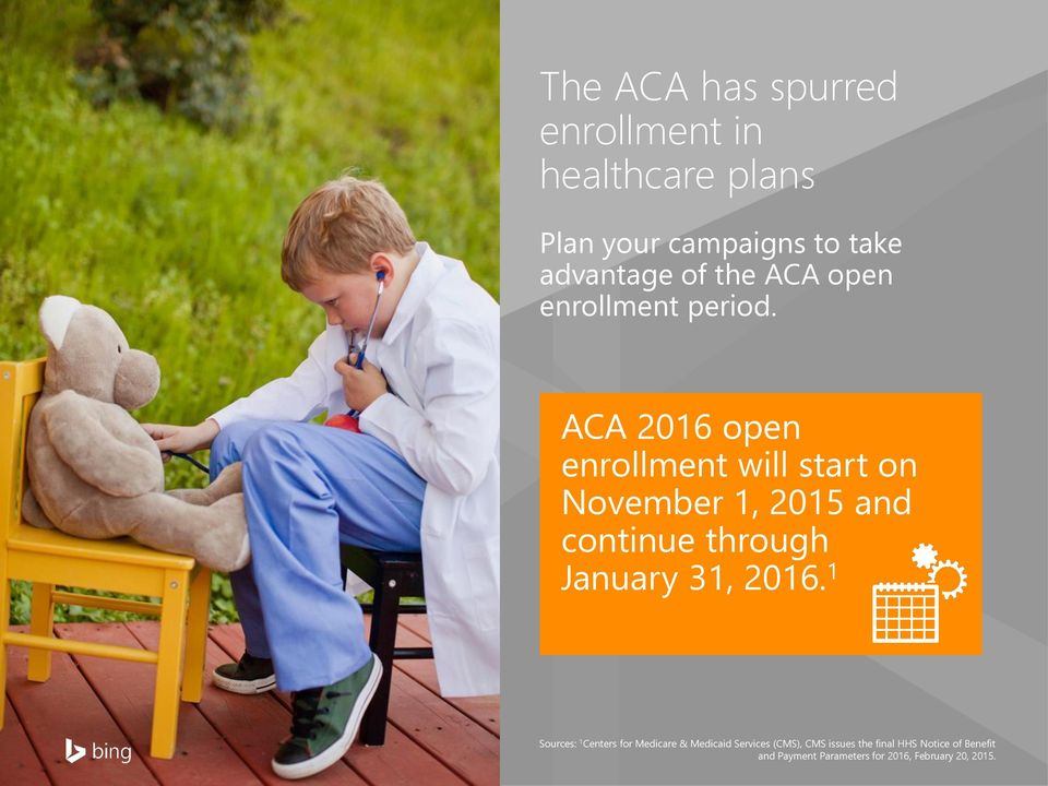 ACA 2016 open enrollment will start on November 1, 2015 and continue through January 31, 2016.