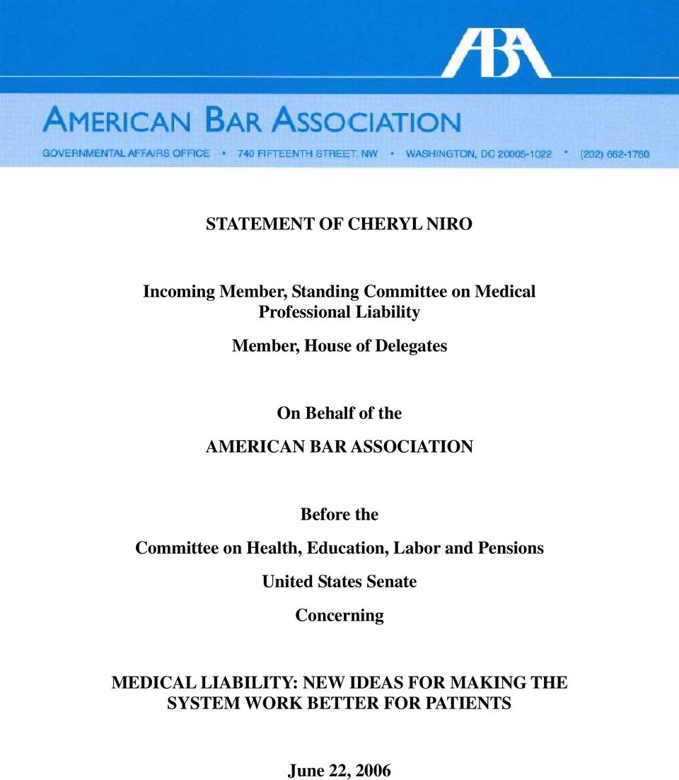 the Committee on Health, Education, Labor and Pensions United States Senate Concerning