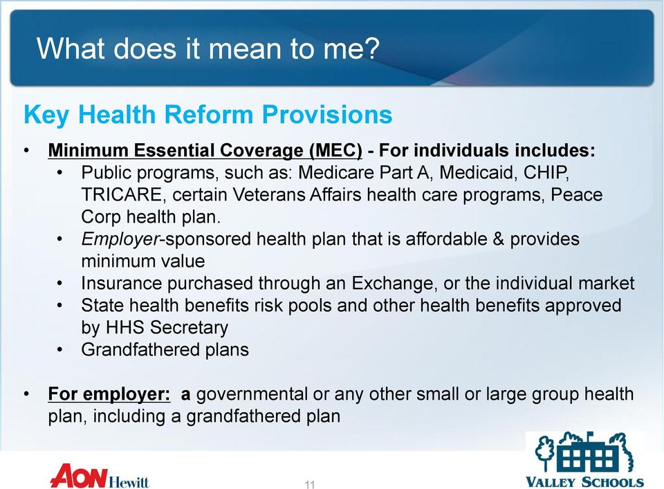 Employer-sponsored health plan that is affordable & provides minimum value Insurance purchased through an Exchange, or the individual market