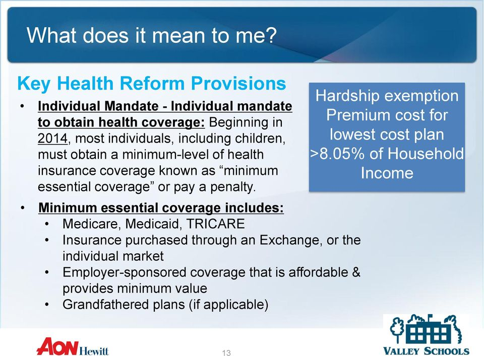 Minimum essential coverage includes: Medicare, Medicaid, TRICARE Insurance purchased through an Exchange, or the individual market