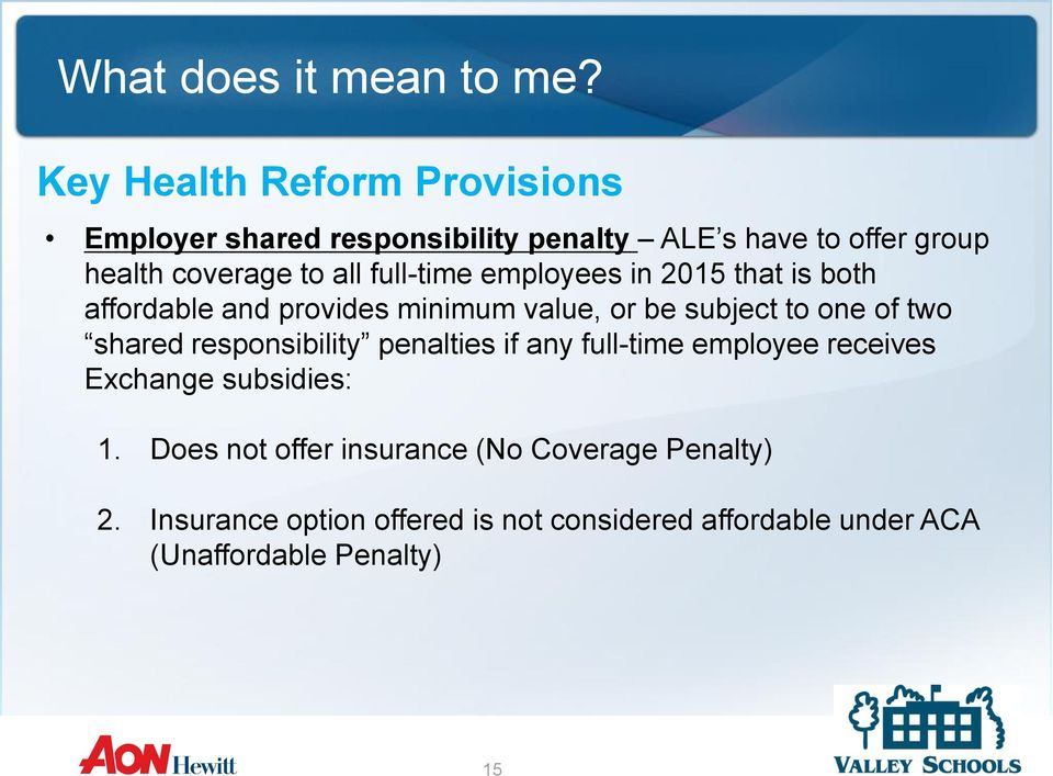 shared responsibility penalties if any full-time employee receives Exchange subsidies: 1.
