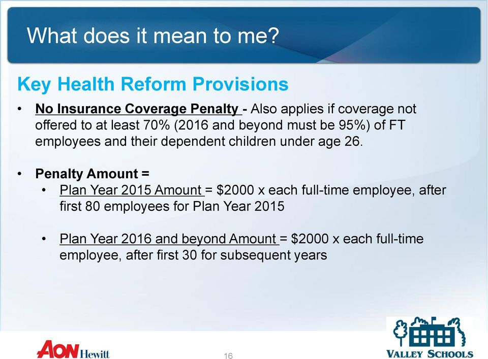 Penalty Amount = Plan Year 2015 Amount = $2000 x each full-time employee, after first 80 employees for