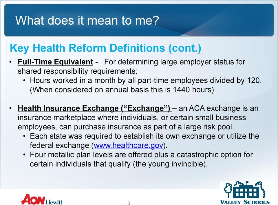 (When considered on annual basis this is 1440 hours) Health Insurance Exchange ( Exchange ) an ACA exchange is an insurance marketplace where individuals, or certain small