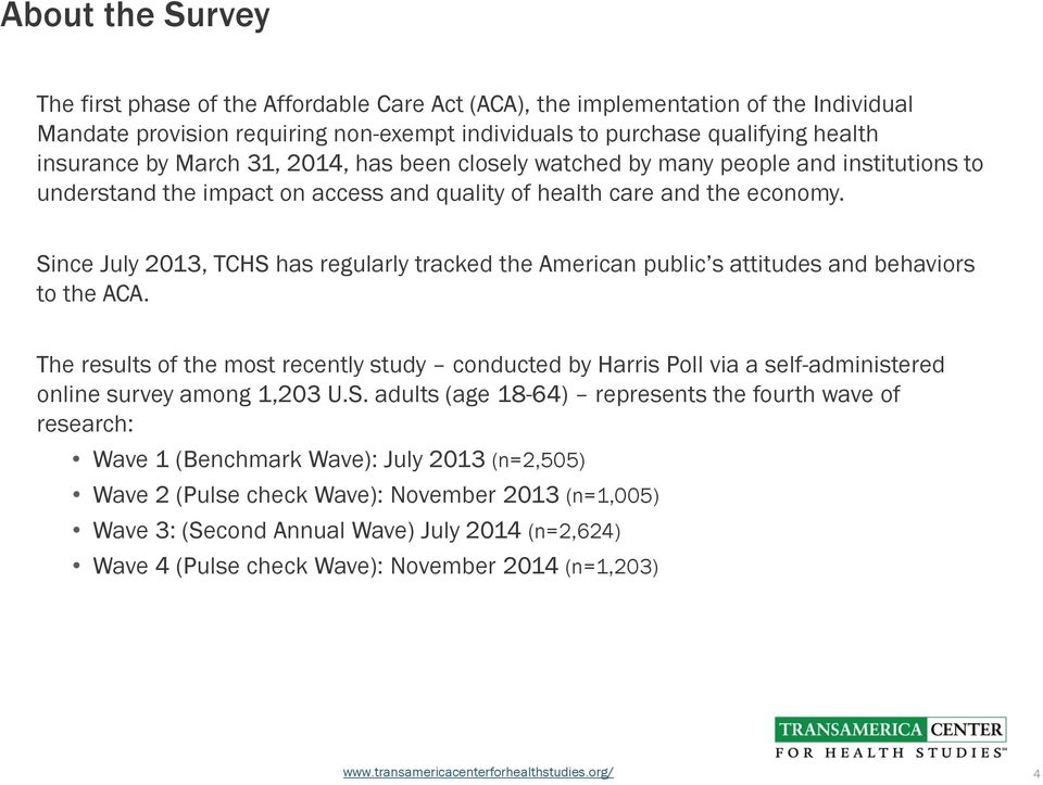 Since July 2013, TCHS has regularly tracked the American public s attitudes and behaviors to the ACA.