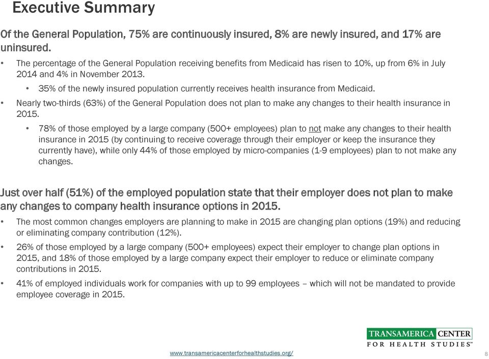 35% of the newly insured population currently receives health insurance from Medicaid.