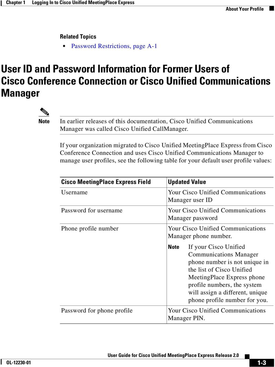 If your organization migrated to Cisco Unified MeetingPlace Express from Cisco Conference Connection and uses Cisco Unified Communications Manager to manage user profiles, see the following table for