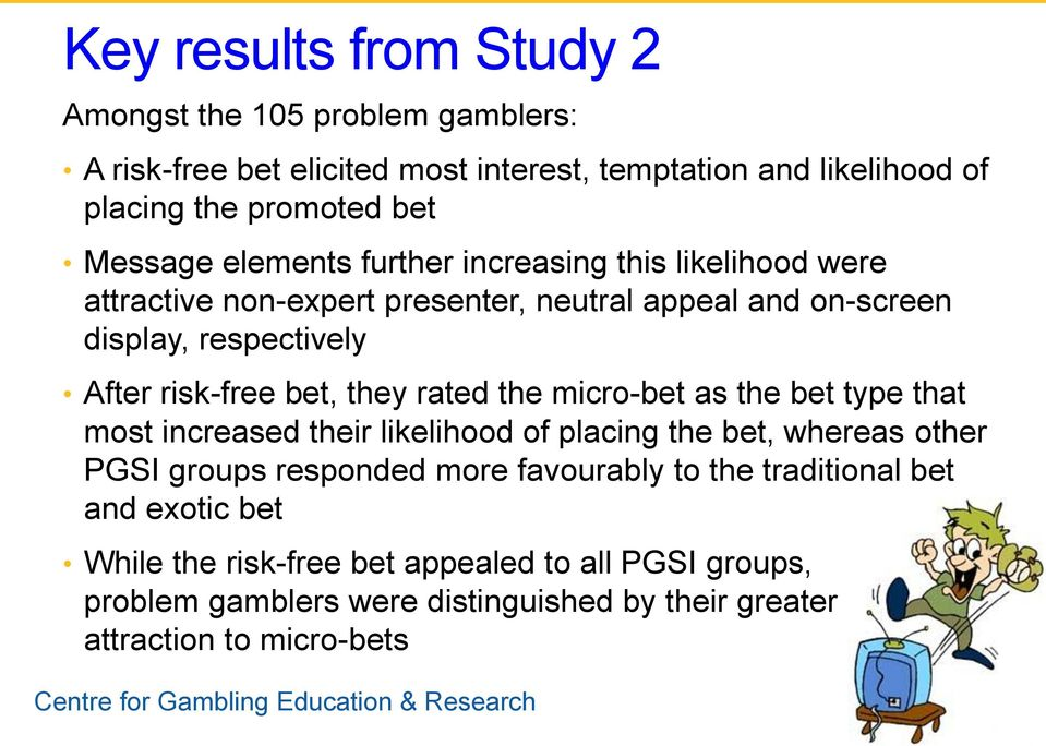 bet, they rated the micro-bet as the bet type that most increased their likelihood of placing the bet, whereas other PGSI groups responded more favourably to