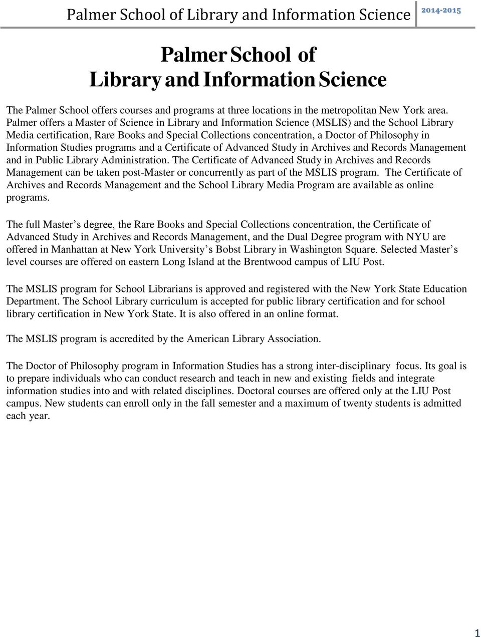 Palmer School Of Library And Information Science Pdf