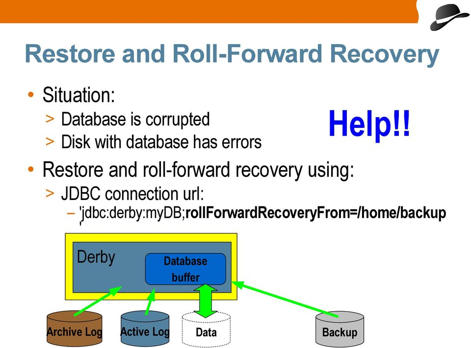 ! Restore and roll-forward recovery using: > JDBC connection url:
