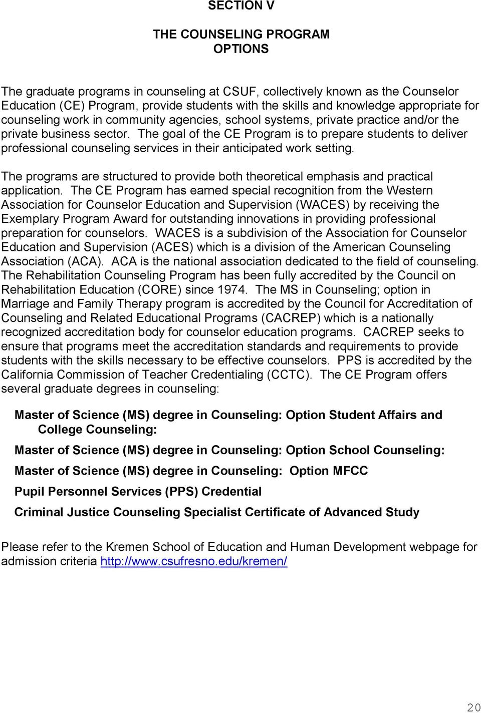 Counselor Education Program Department Of Counselor Education And
