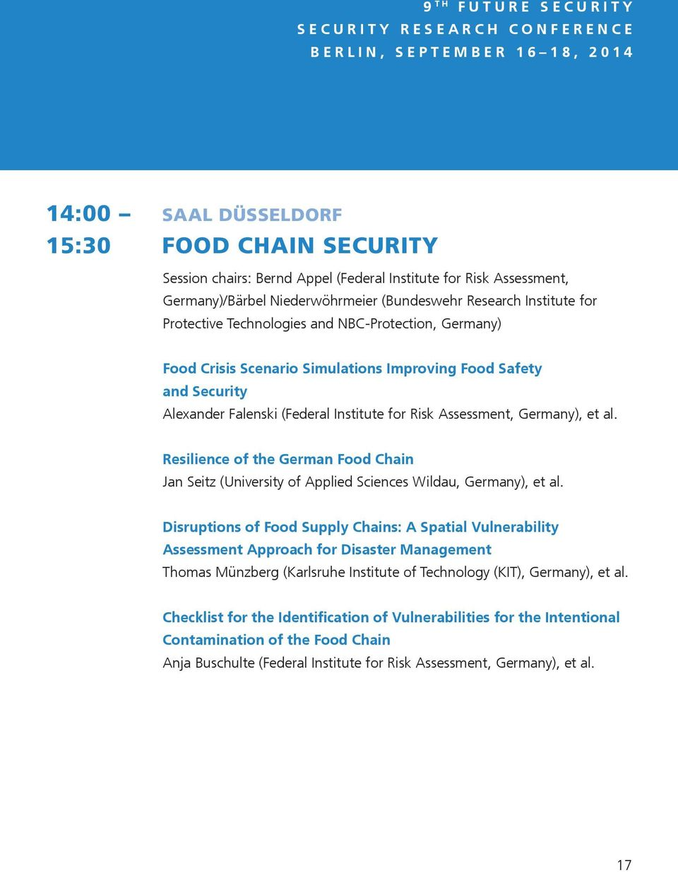Risk Assessment, Germany), et al. Resilience of the German Food Chain Jan Seitz (University of Applied Sciences Wildau, Germany), et al.