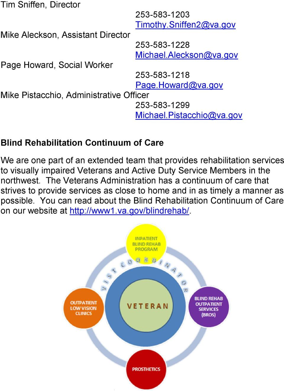 gov Blind Rehabilitation Continuum of Care We are one part of an extended team that provides rehabilitation services to visually impaired Veterans and Active Duty Service Members
