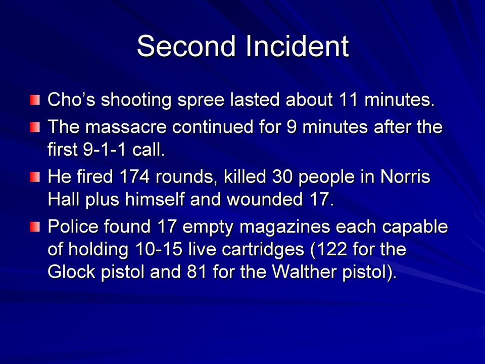 He fired 174 rounds, killed 30 people in Norris Hall plus himself and wounded 17.