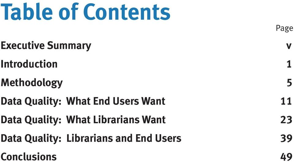 End Users Want 11 Data Quality: What Librarians