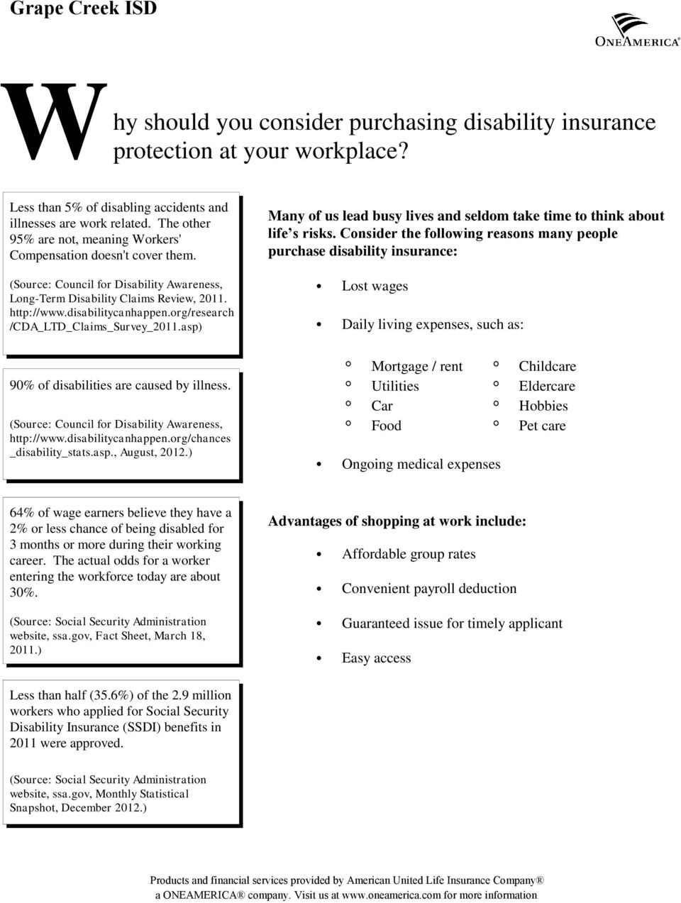 Consider the following reasons many people purchase disability insurance: (Source: Council for Disability Awareness, Long-Term Disability Claims Review, 2011. http://www.disabilitycanhappen.