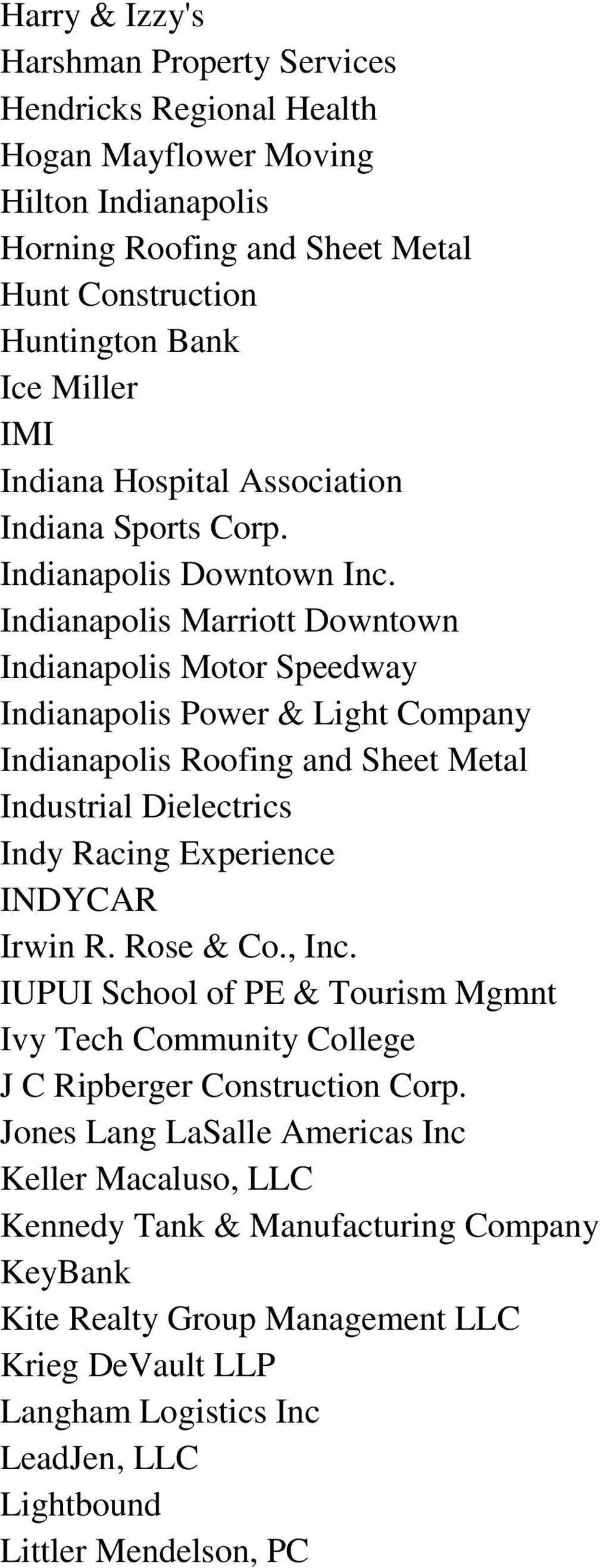 Indianapolis Marriott Downtown Indianapolis Motor Speedway Indianapolis Power & Light Company Indianapolis Roofing and Sheet Metal Industrial Dielectrics Indy Racing Experience INDYCAR Irwin R.