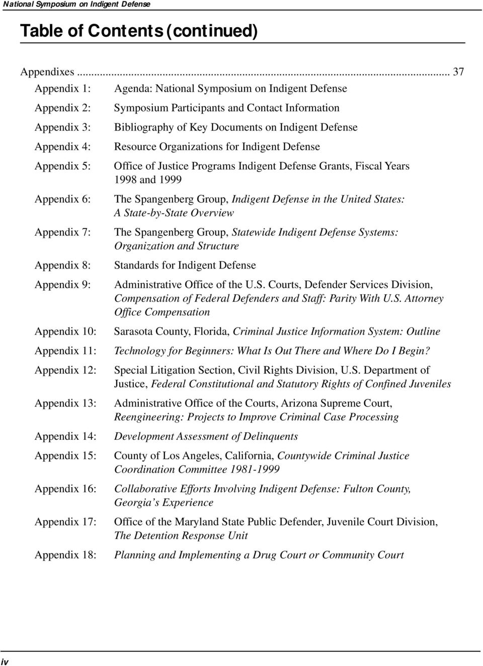 Appendix 13: Appendix 14: Appendix 15: Appendix 16: Appendix 17: Appendix 18: Symposium Participants and Contact Information Bibliography of Key Documents on Indigent Defense Resource Organizations