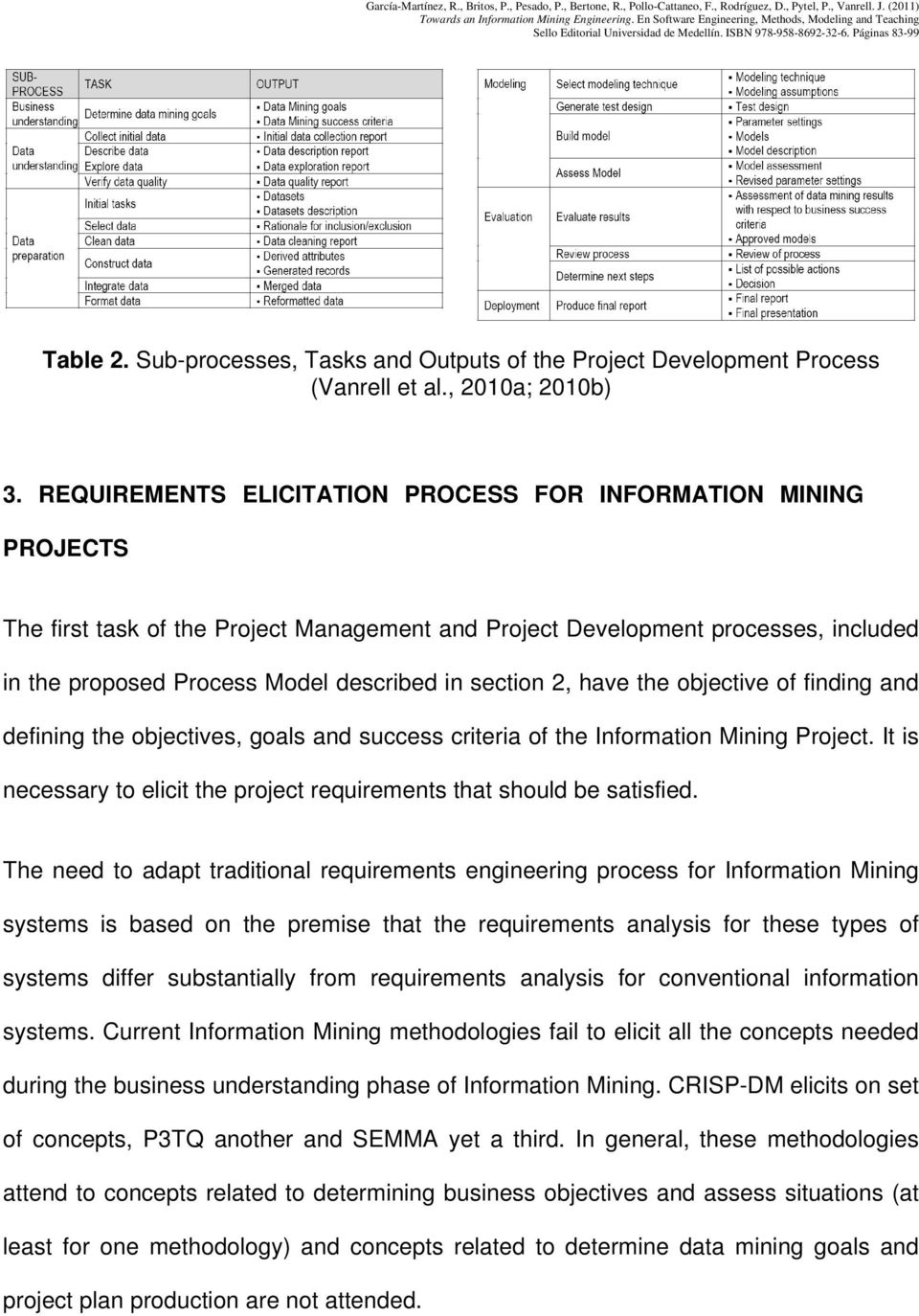 section 2, have the objective of finding and defining the objectives, goals and success criteria of the Information Mining Project.