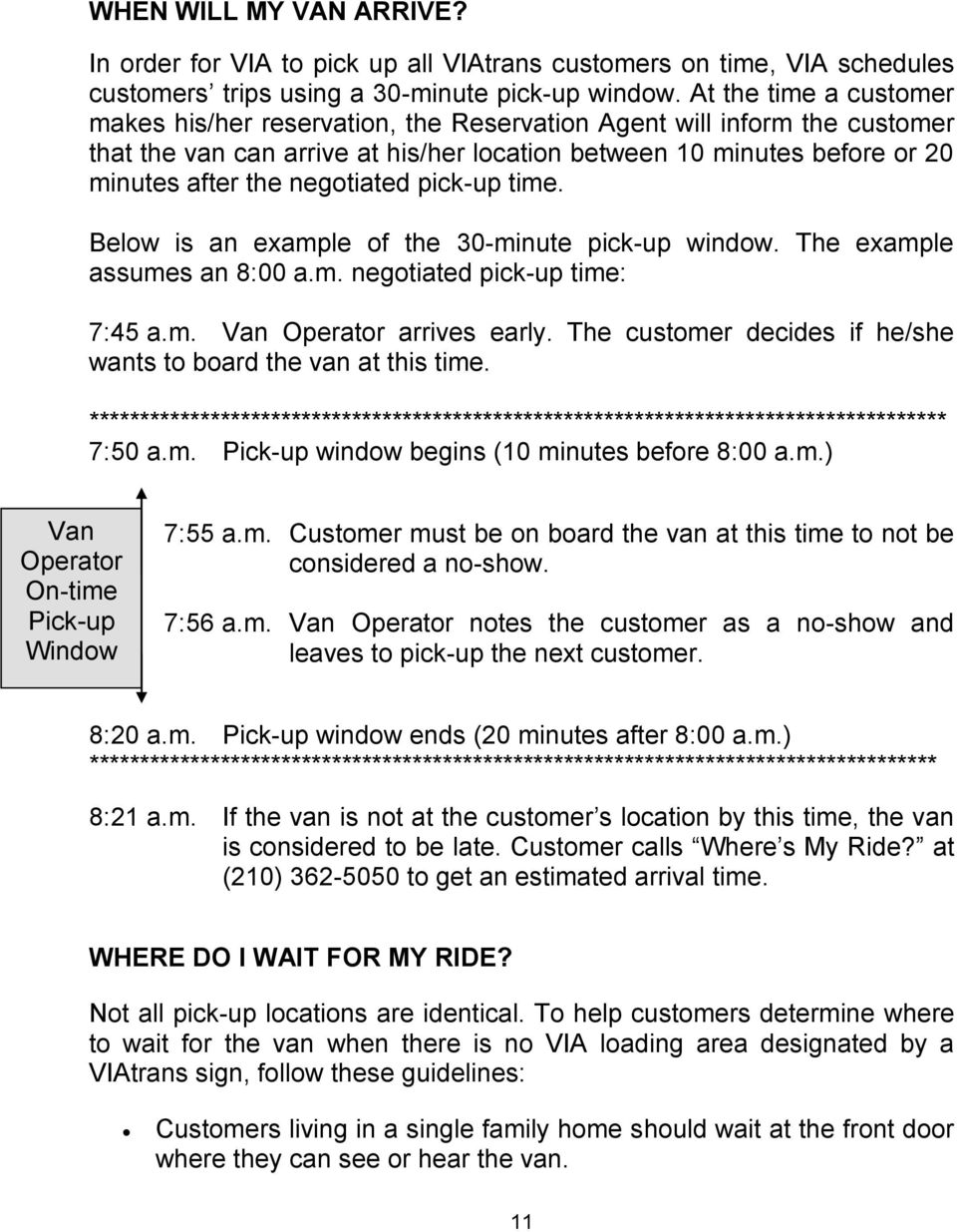 negotiated pick-up time. Below is an example of the 30-minute pick-up window. The example assumes an 8:00 a.m. negotiated pick-up time: 7:45 a.m. Van Operator arrives early.