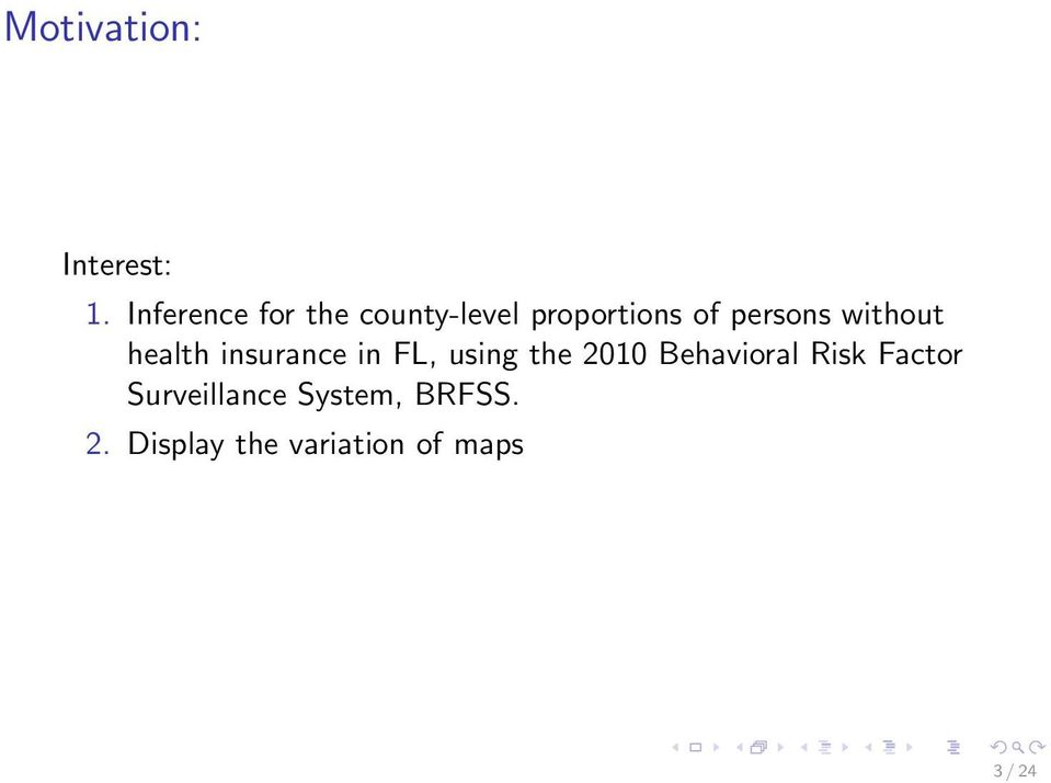 without health insurance in FL, using the 2010
