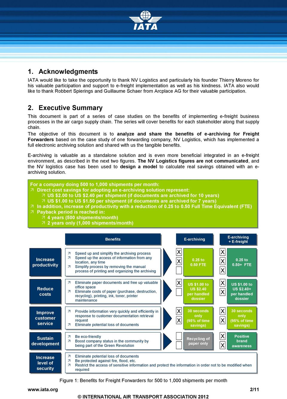 Executive Summary This document is part of a series of case studies on the benefits of implementing e-freight business processes in the air cargo supply chain.
