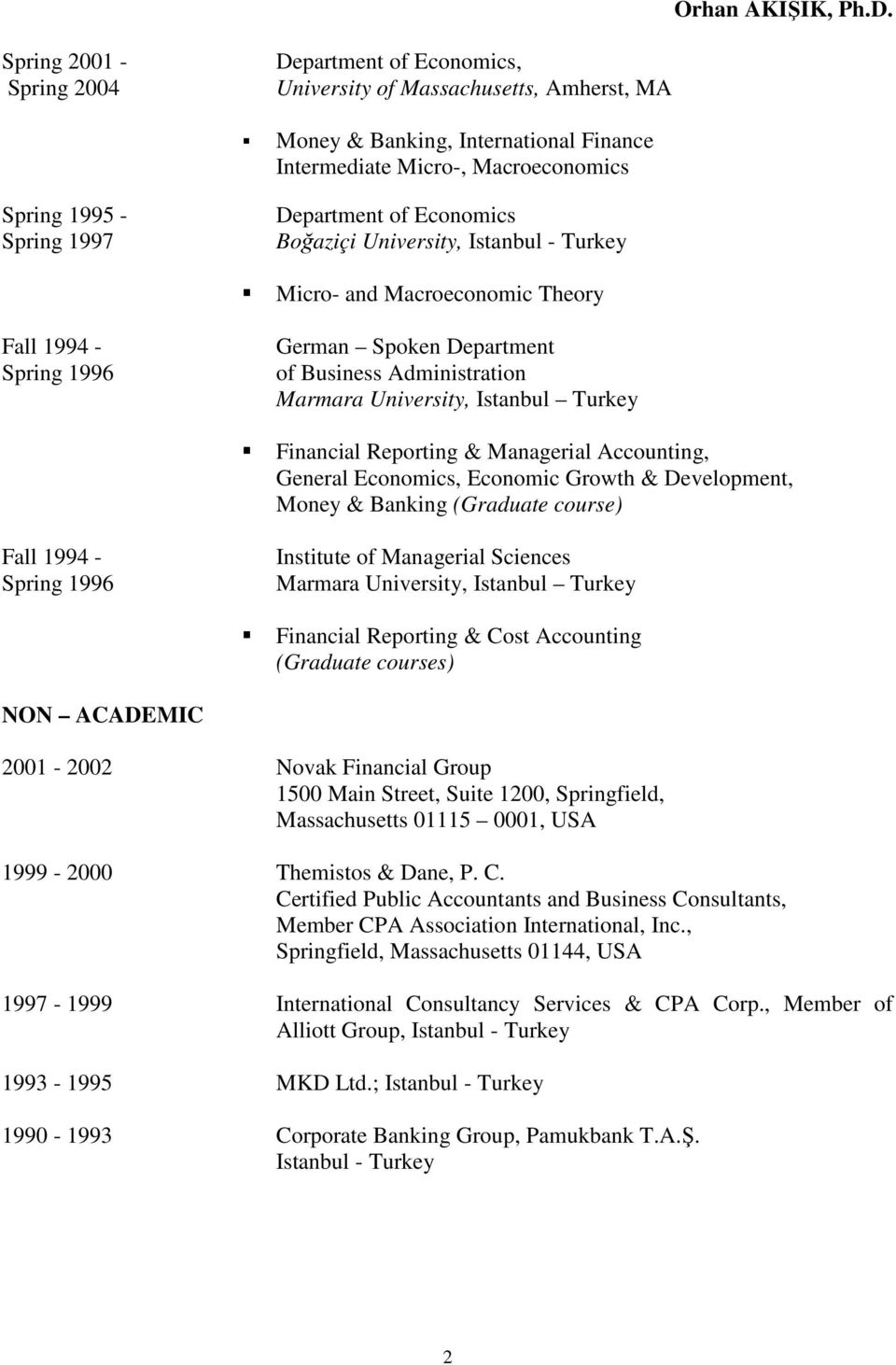 Turkey Financial Reporting & Managerial Accounting, General Economics, Economic Growth & Development, Money & Banking (Graduate course) Fall 1994 - Spring 1996 Institute of Managerial Sciences