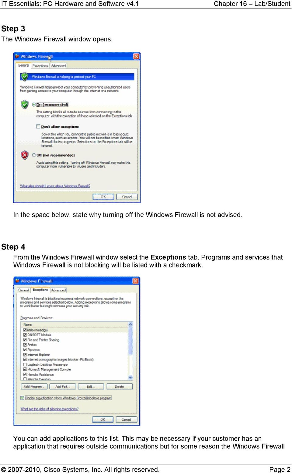 Programs and services that Windows Firewall is not blocking will be listed with a checkmark.