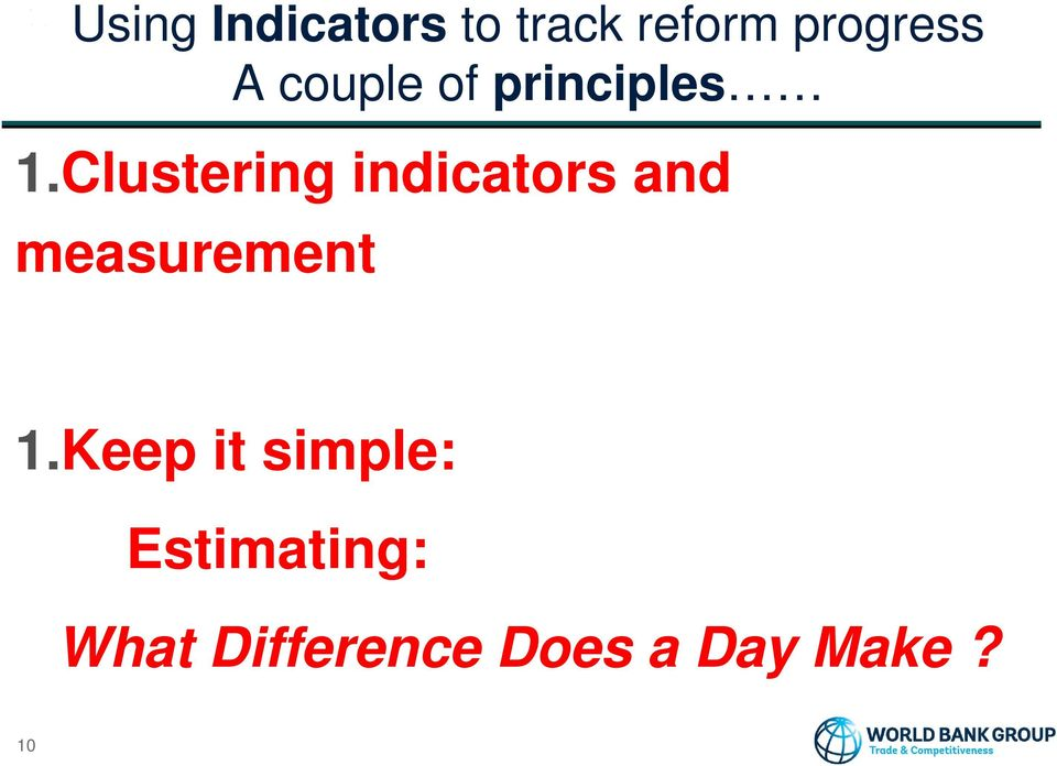Clustering indicators and measurement 1.