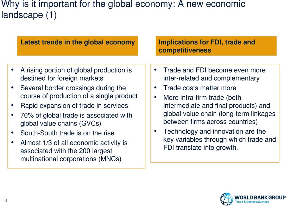 chains (GVCs) South-South trade is on the rise Almost 1/3 of all economic activity is associated with the 200 largest multinational corporations (MNCs) Trade and FDI become even more inter-related