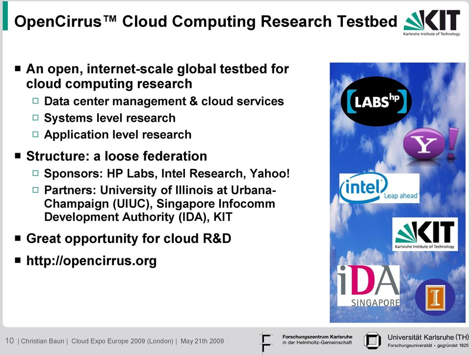 Labs, Intel Research, Yahoo!
