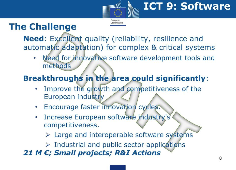 growth and competitiveness of the European industry Encourage faster innovation cycles.