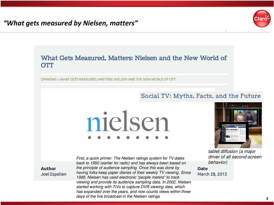 Since 1986, Nielsen has used electronic people meters to track viewing and provide its audience sampling data.