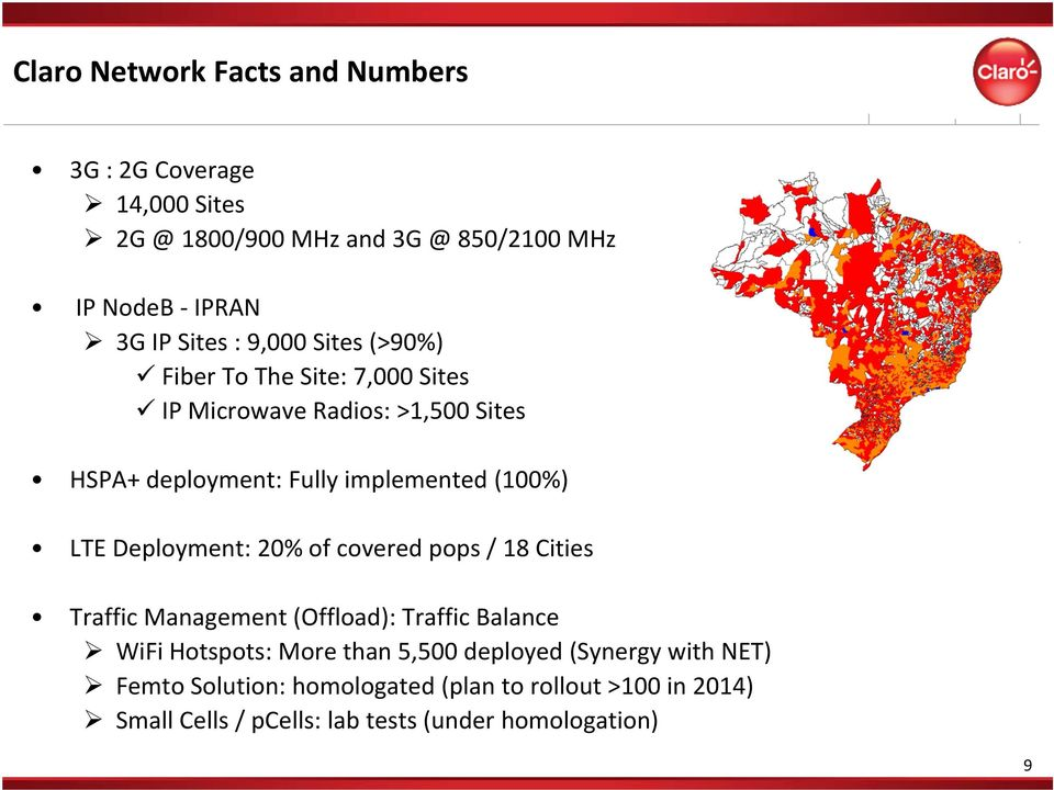 Deployment: 20% of covered pops / 18 Cities Traffic Management (Offload): Traffic Balance WiFi Hotspots: More than 5,500 deployed