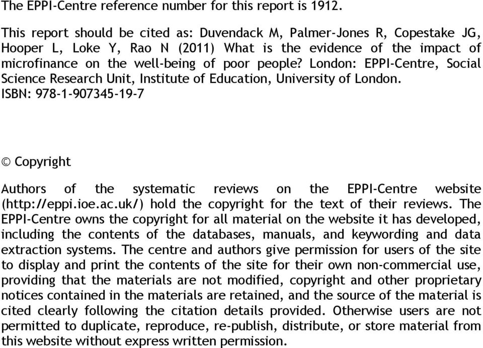 London: EPPI-Centre, Social Science Research Unit, Institute of Education, University of London.