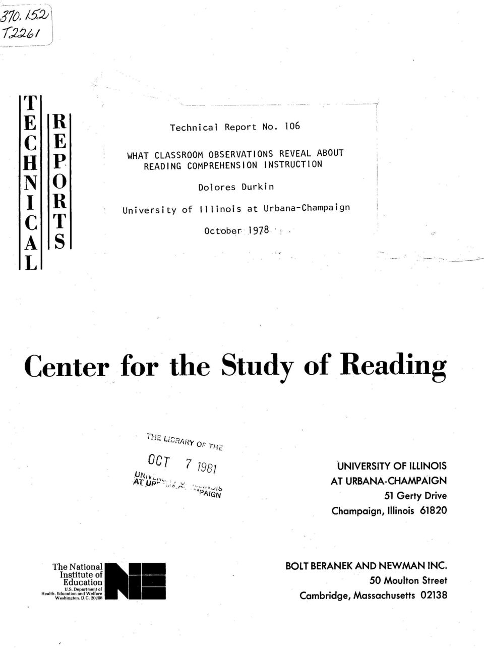 October 1978 Center for the Study of Reading T','.L ARy OT OC T AT- L.