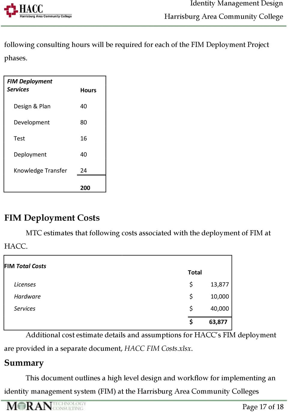MTC estimates that following costs associated with the deployment of FIM at FIM Total Costs Total Licenses $ 13,877 Hardware $ 10,000 Services $ 40,000 $ 63,877