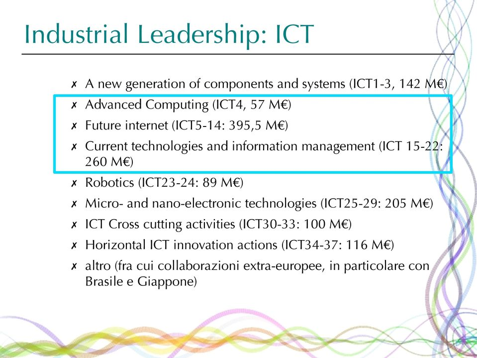 89 M ) Micro- and nano-electronic technologies (ICT25-29: 205 M ) ICT Cross cutting activities (ICT30-33: 100 M )