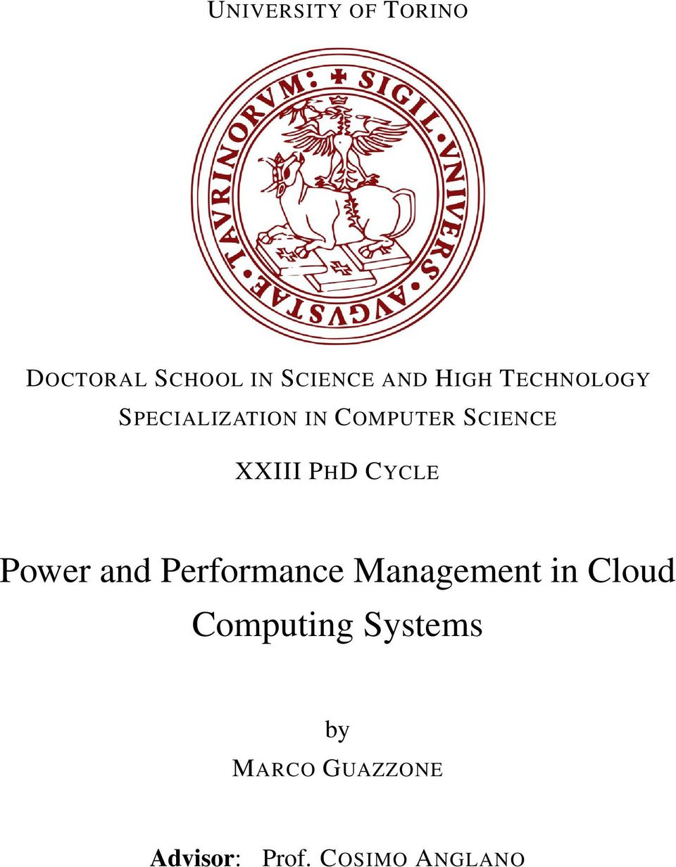 CYCLE Power and Performance Management in Cloud