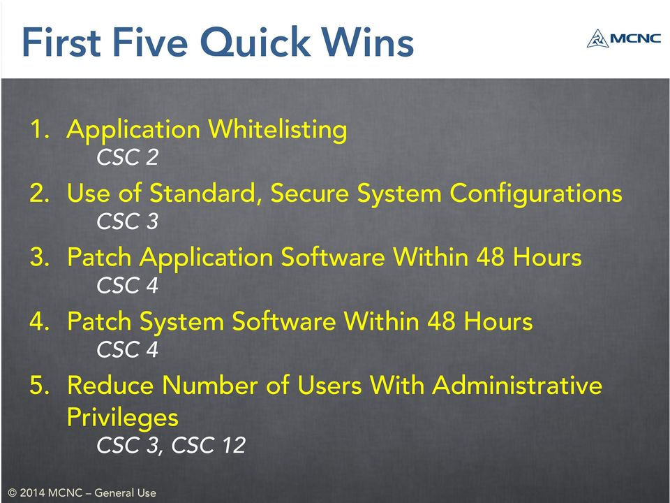 Patch Application Software Within 48 Hours CSC 4 4.