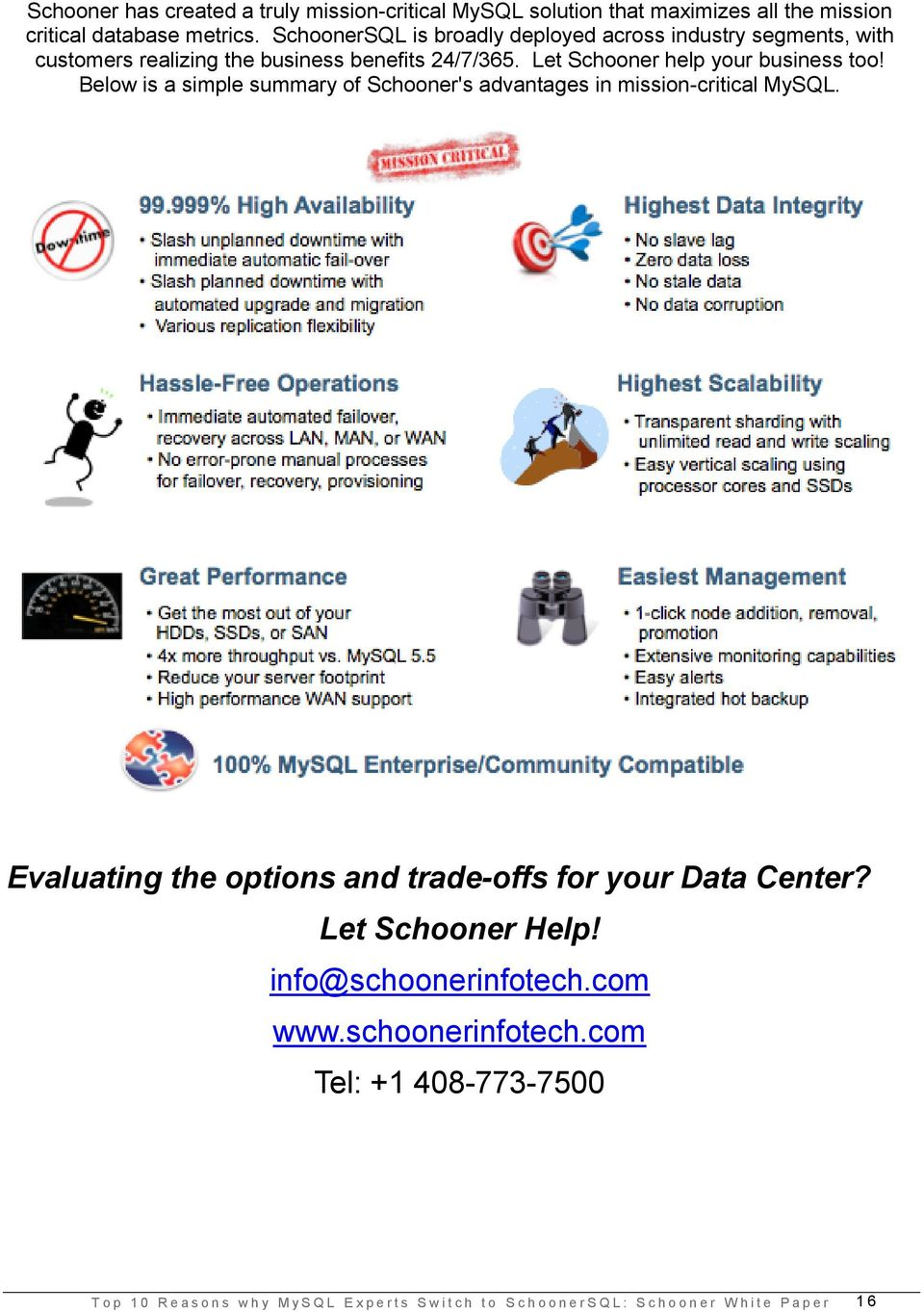 Below is a simple summary of Schooner's advantages in mission-critical MySQL. Evaluating the options and trade-offs for your Data Center? Let Schooner Help!